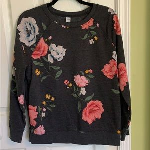 Dark grey sweater with floral print